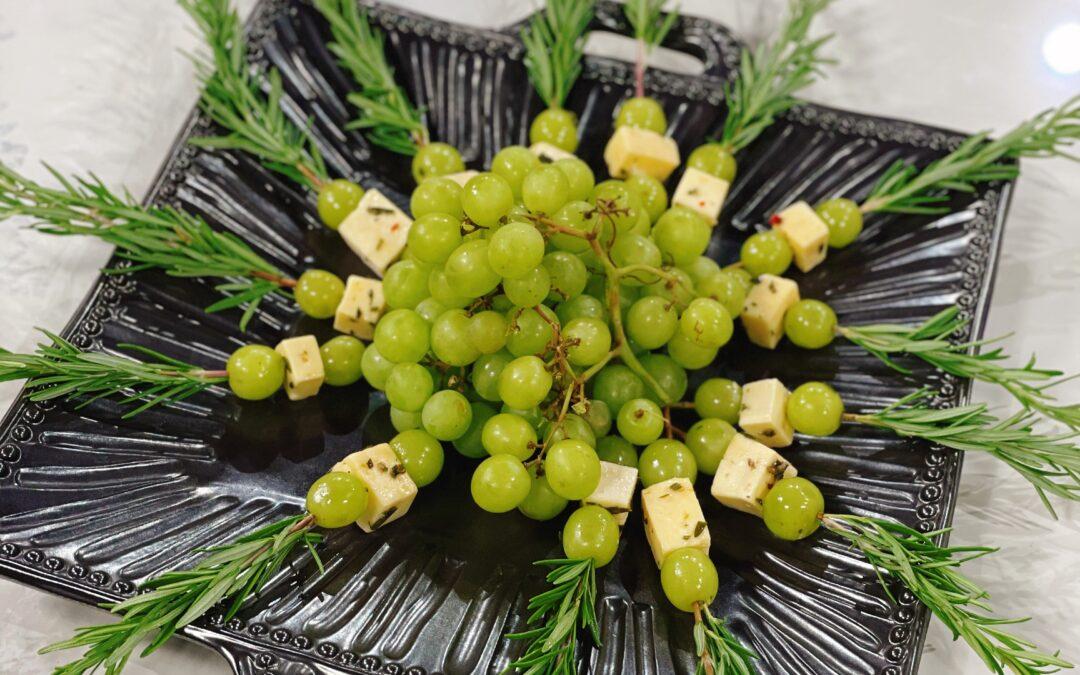 Marinated Fontina Cheese & Grapes on Rosemary Skewers
